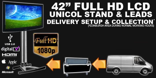 "42"" LCD SCREEN AND STAND HIRE DEAL"